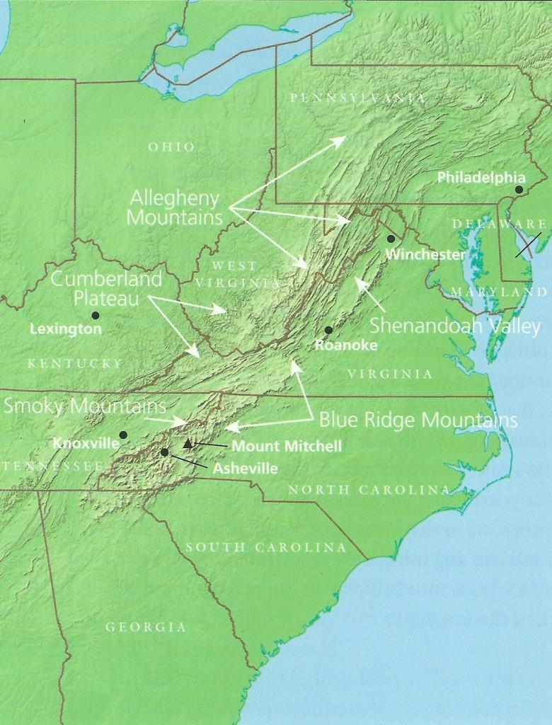 Map Showing the Southern Appalachian Region