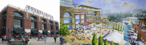 Contrast between the entrances of Turner Field in NPU-V and new Braves Stadium in Cobb County