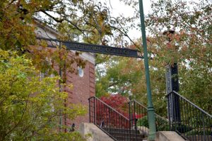 Iron gate outside the LaGrange College Chapel