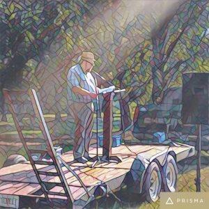"Photo of Rev. Mattox preaching at ""Boat Church"""