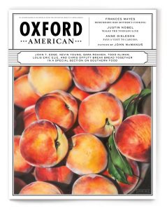 a photo of the cover of the March 2015 edition of Oxford American magazine, featuring a colorful bowl of peaches.
