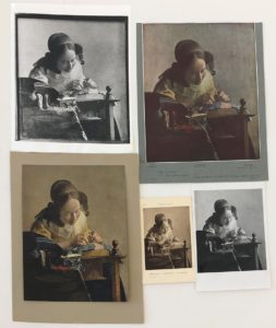 Photographs of reproductions of Johannes Vermeer's The Lacemaker (ca. 1669) and accompanying annotations from the Photo Archive. Study Photographs of Dutch Paintings and Drawings. The Getty Research Institute, 76.P.60. [accession number links to: http://hdl.handle.net/10020/alma21115951490001551]