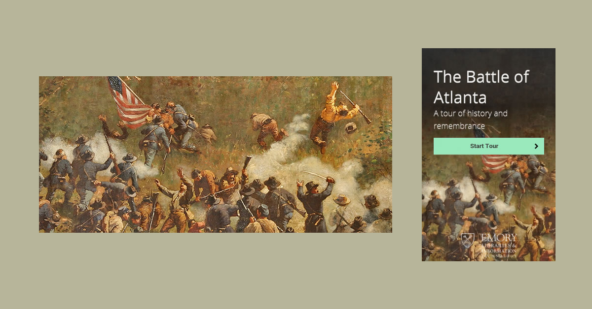 Banner featuring Battle of Atlanta painting and project poster