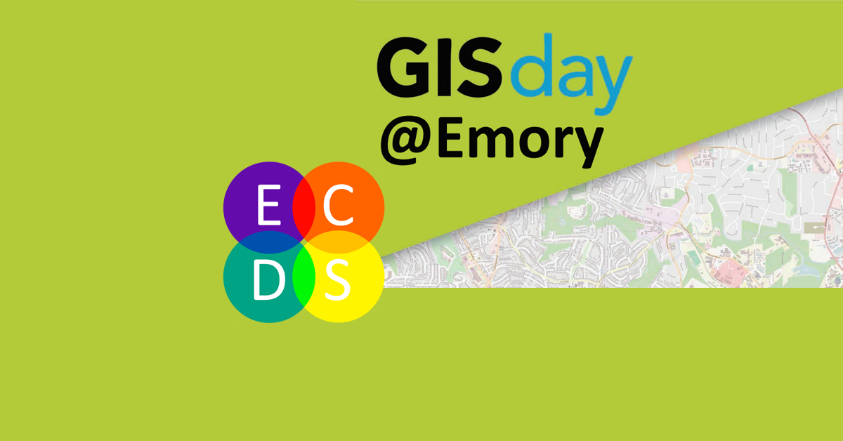 Banner with green background advertising GIS day at Emory