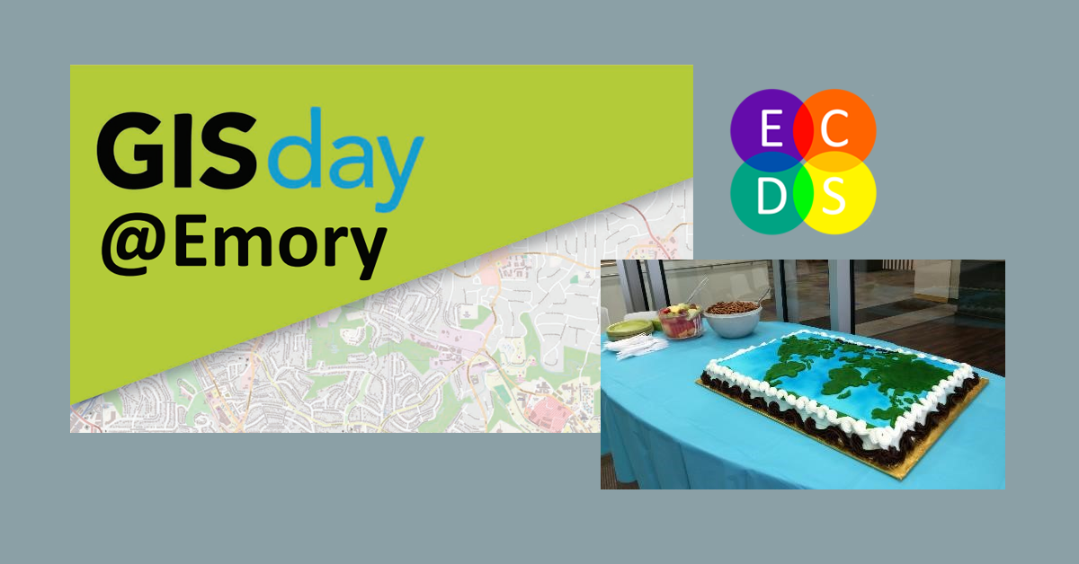 Banner featuring image from GIS day flyer and photo of a cake