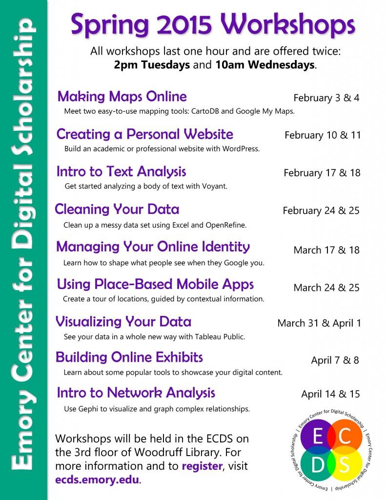 ECDS_Spring2015_Workshops