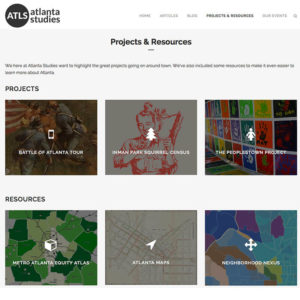Click to expand screenshot of Atlanta Studies Projects and Resources page