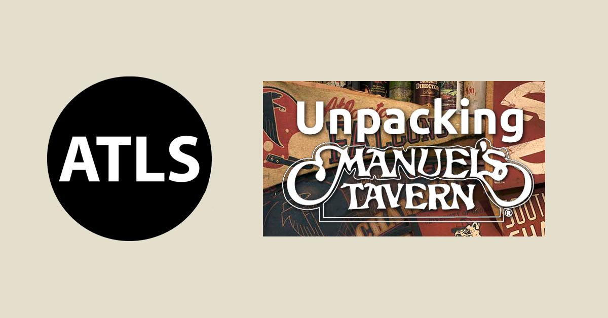 Banner featuring and Unpacking Manuel's Tavern and Atlanta Studies logos