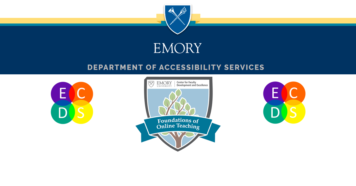 Banner featuring logos for Emory OAS, EFOT, and ECDS