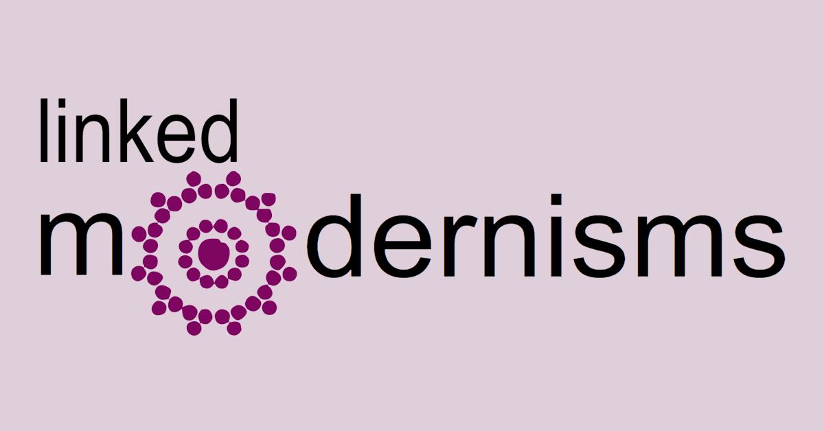Linked Modernisms logo against light purple background