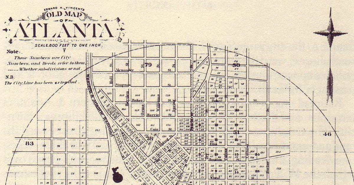 1853 Atlanta Vincent Map