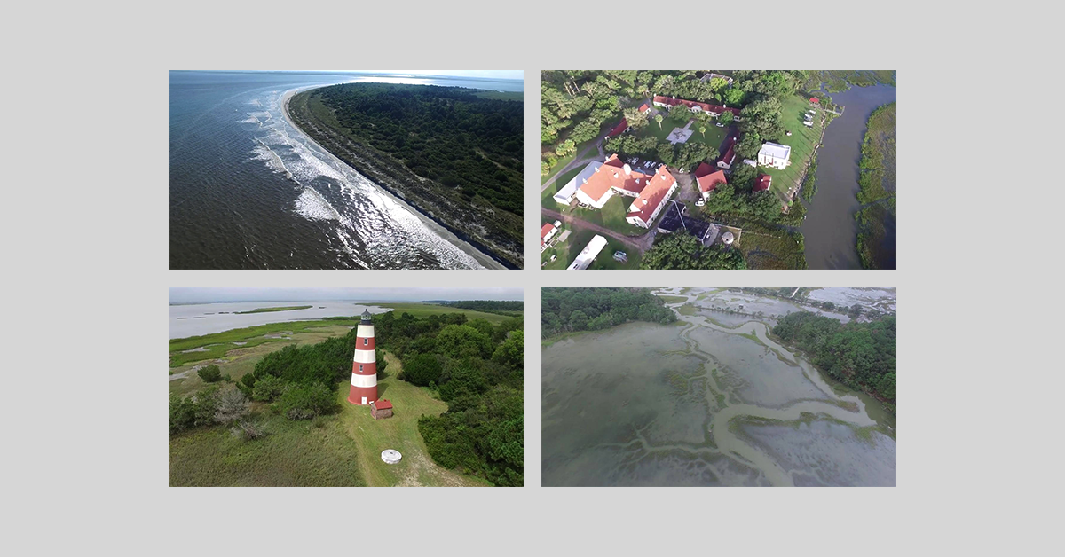 Four screencaps of Sapelo Island Flyover