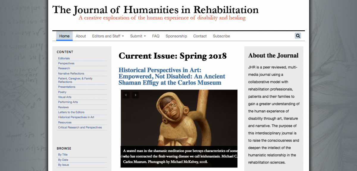Screenshot of JHR homepage featuring the spring 2018 issue