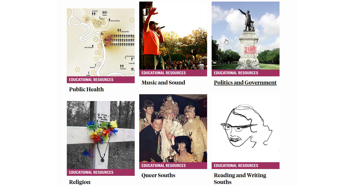 Screenshot of Southern Spaces Educational Resources