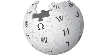 Banner featuring Wikipedia globe puzzle logo against white background