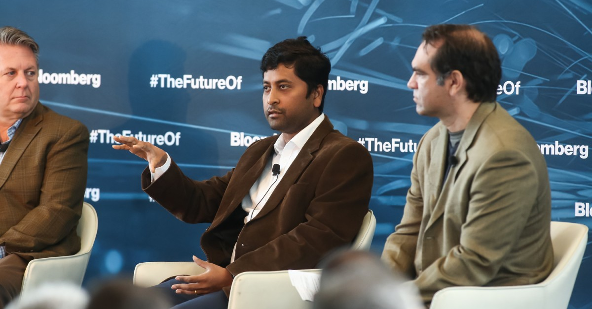 Arya Basu speaking at Bloomberg Live event