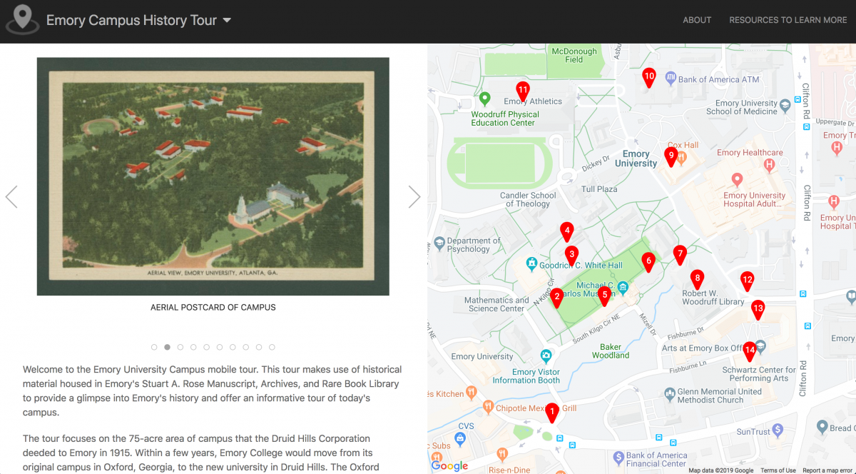 Screenshot of Emory Campus History Tour created with OpenTour Builder