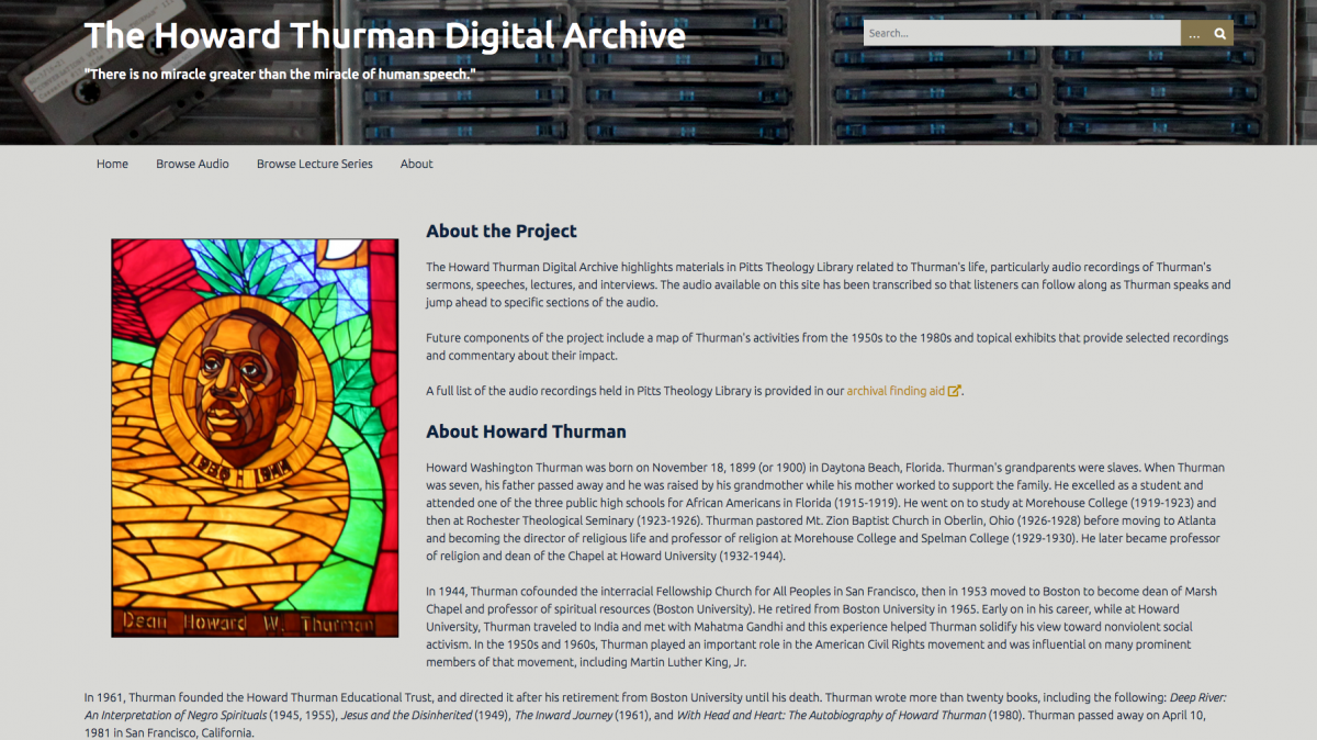 screenshot of the Howard Thurman Digital Archive website
