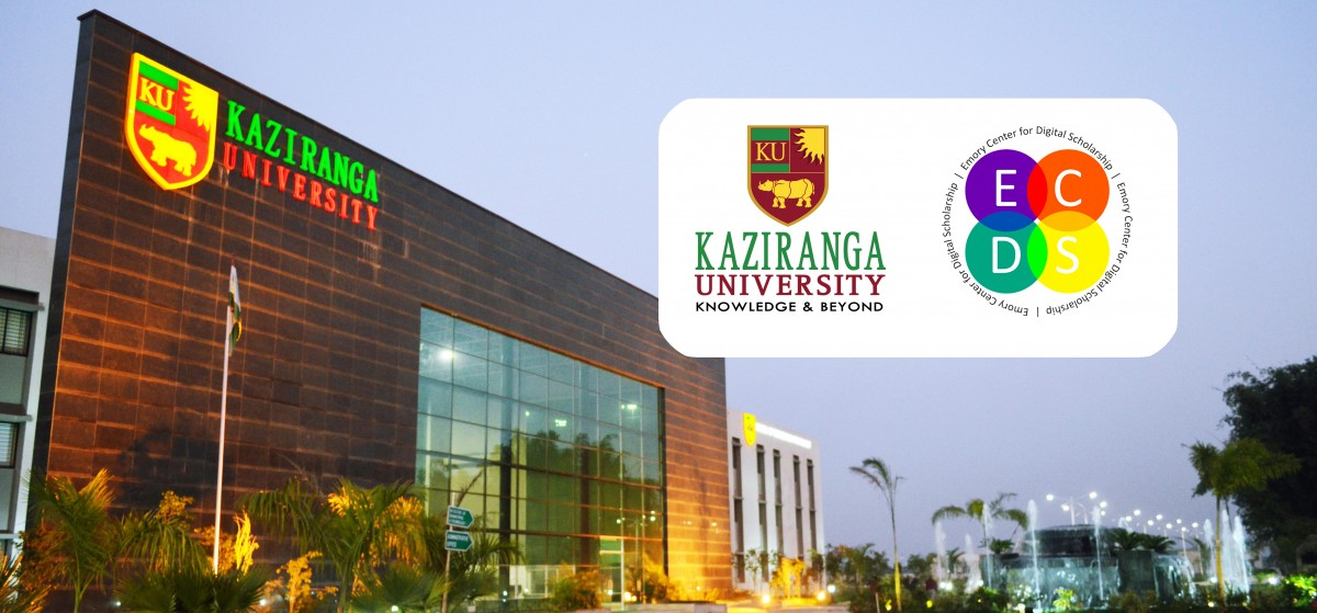 Banner featuring Kaziranga University building and logos of ECDS and Kaziranga University