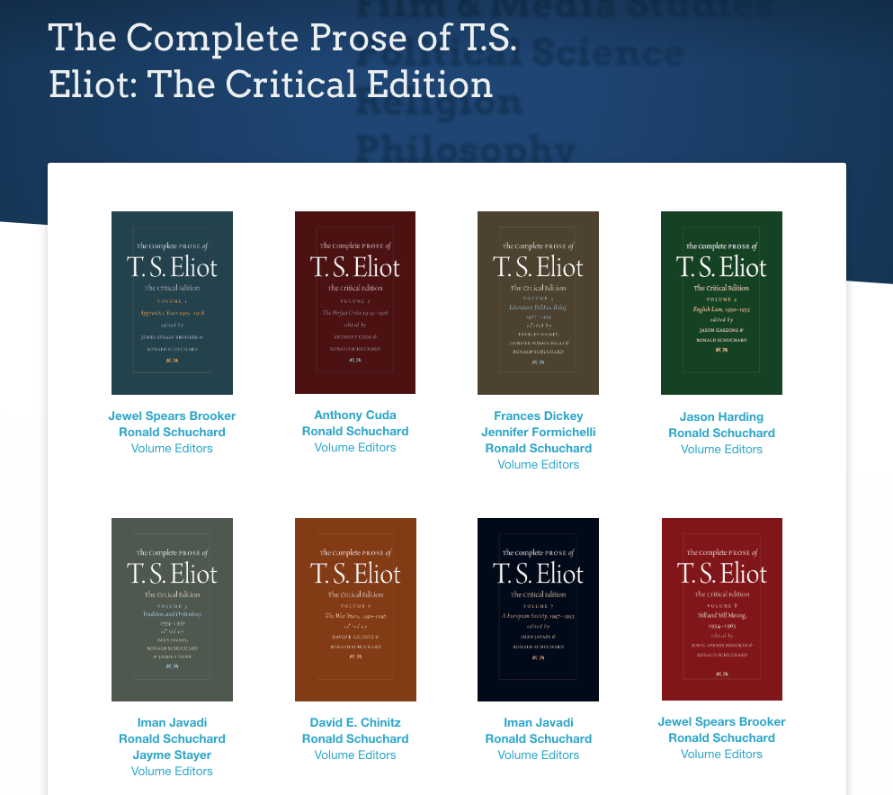 Image of covers of 8 volumes of The Complete Prose of T. S. Eliot