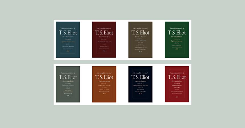 Banner featuring screenshot of Complete Prose of T.S. Eliot book covers