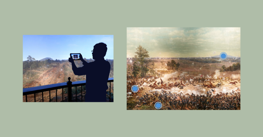 Cyclorama AR app banner featuring man holding tablet using app