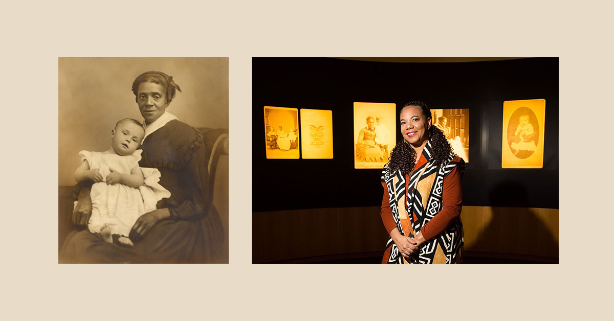 Banner featuring nanny portrait title image of Framing Shadows and photo of curator Kimberly Wallace-Sanders