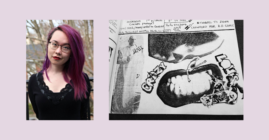 """Banner featuring photo of Amy S. Li and zine page from """"Suicide Attempt"""""""