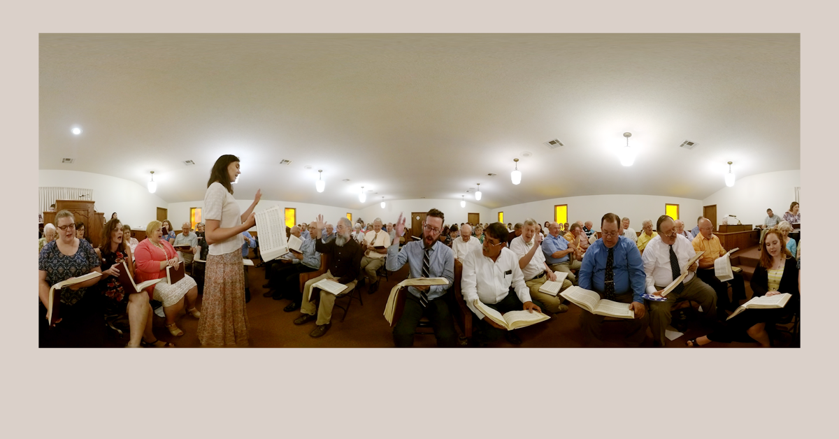 "Banner featuring panoramic still from ""Praise God"" Sacred Harp 360 video"