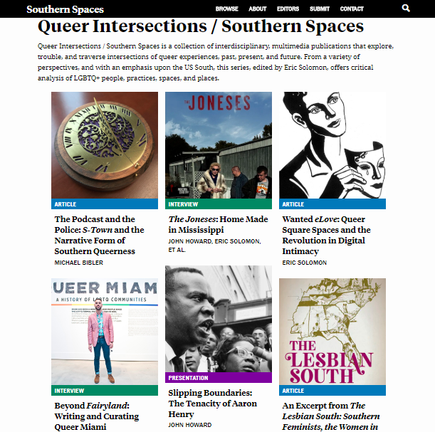 Screenshot of Queer Intersections / Southern Spaces publication series