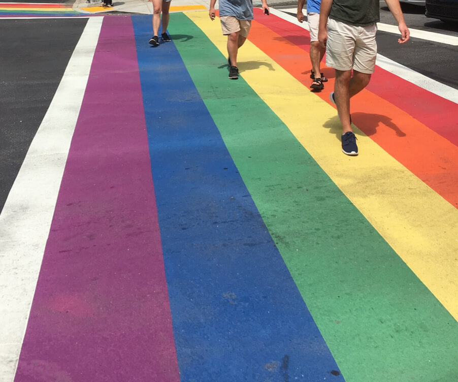 Rainbow crosswalks, corner of 10th Street and Piedmont Avenue, Atlanta