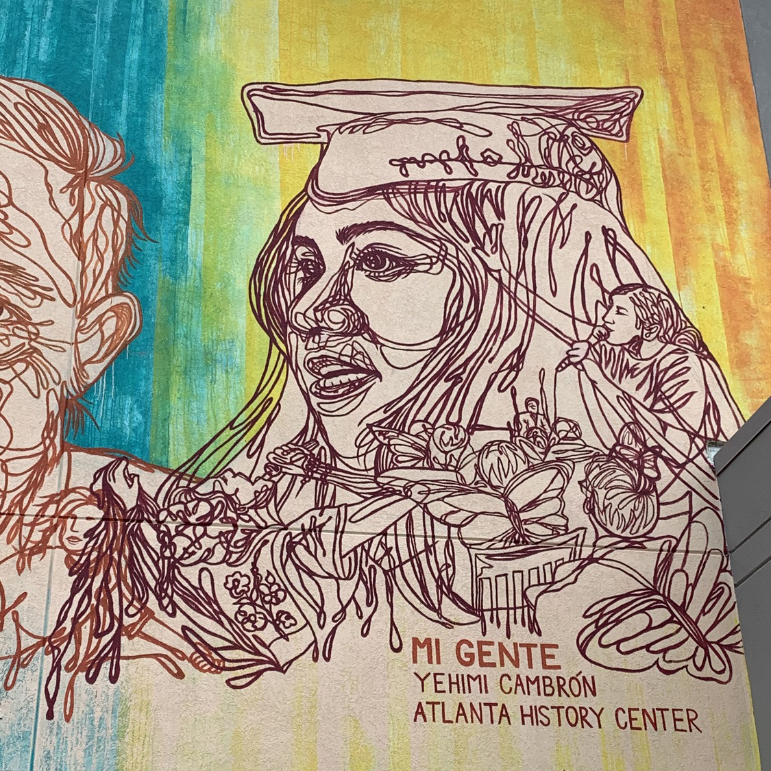 Closeup of Dreamers portrait of Arizbeth Sanchez from Mi Gente mural by Yehimi Cambrón