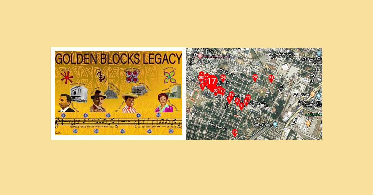 Banner featuring mural and map from Augusta's Golden Blocks OpenTour