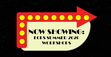 Drive-in movie sign announcing ECDS summer workshops