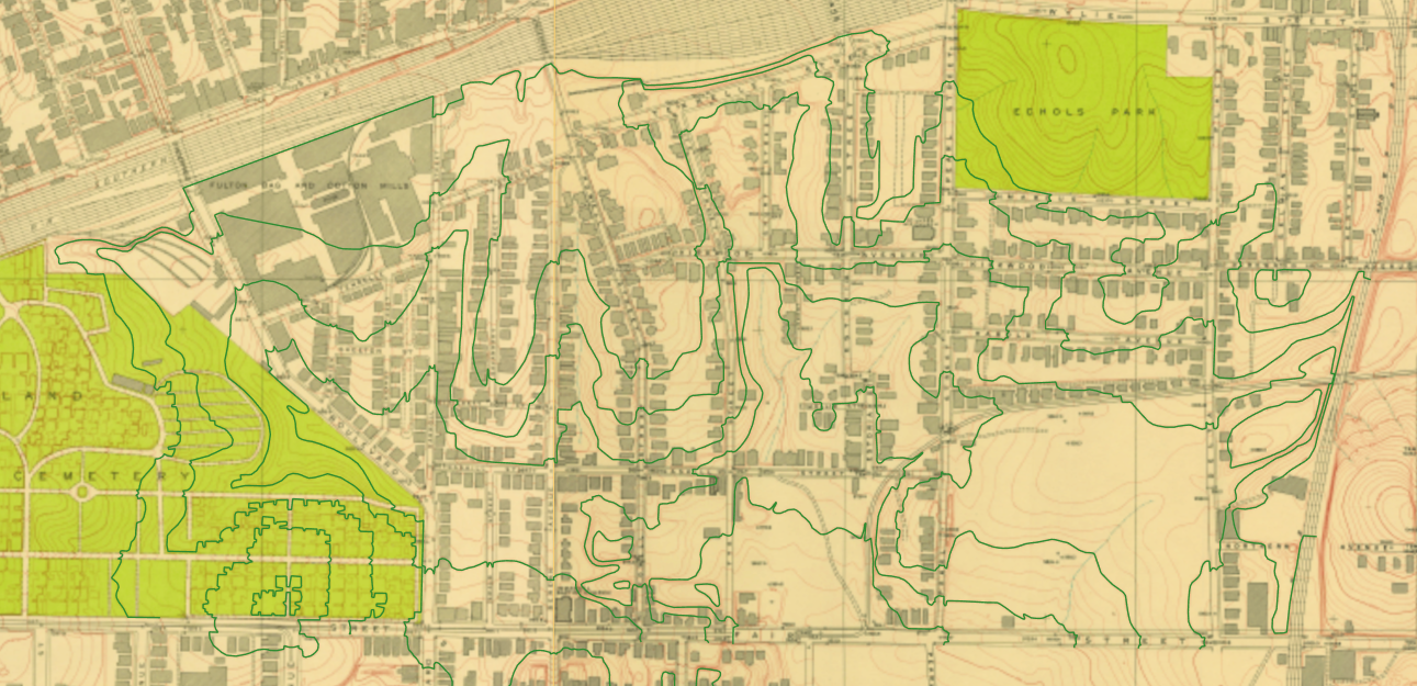 Cabbagetown Neighborhood 1928, with elevation lines