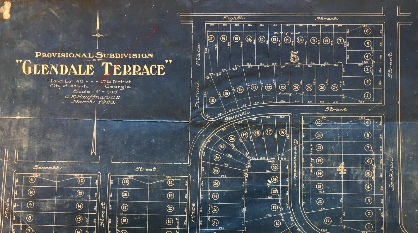 Street Map of Glendale Terrace neighborhood development in Atlanta, 1923