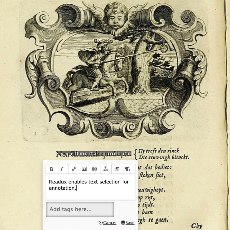Photo of a Readux annotation feature on a digitized manuscript