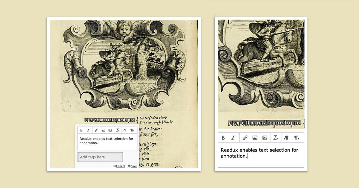 Banner featuring Readux annotation feature on a digitized manuscript