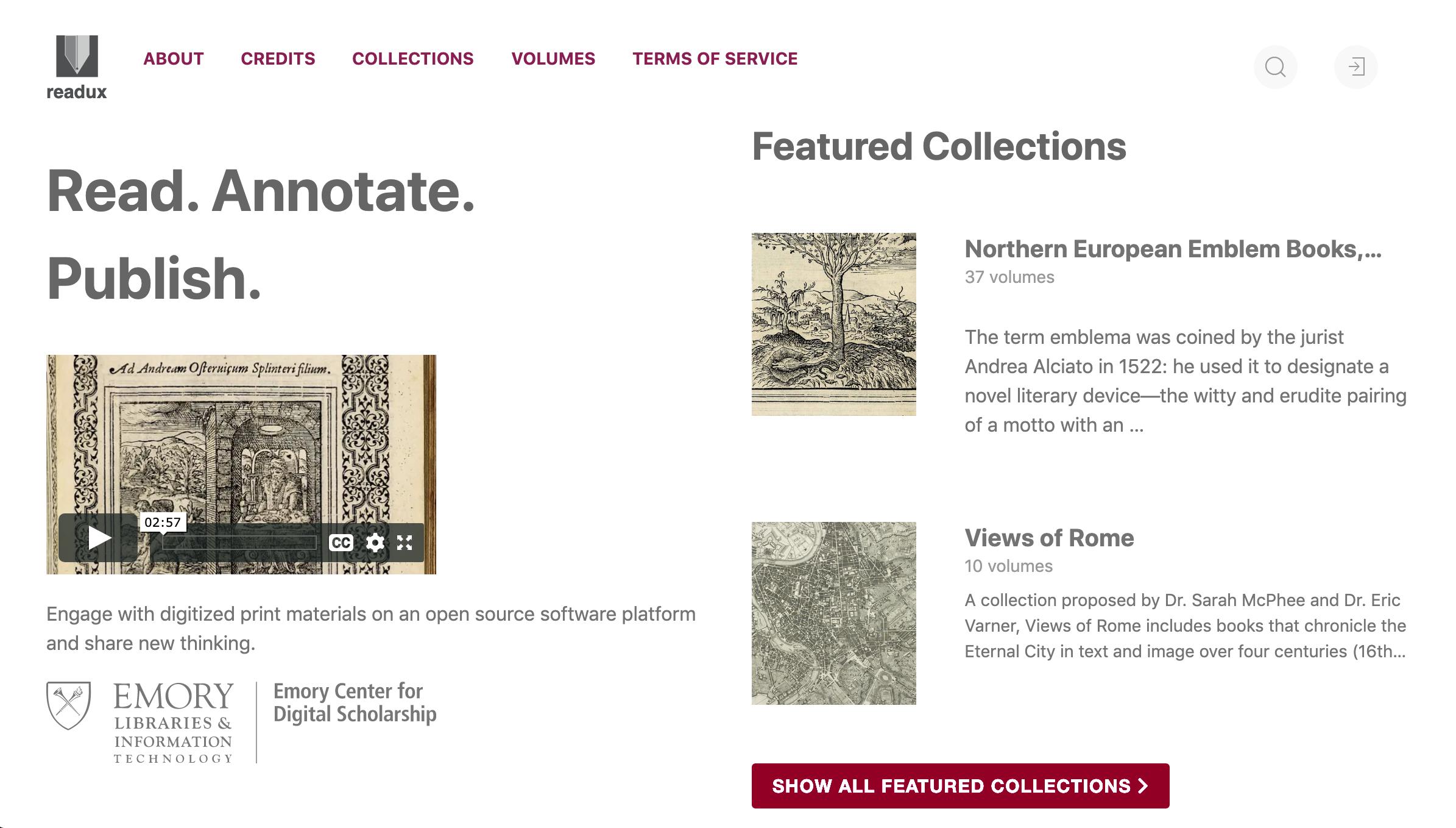 Screenshot of Readux 2 website