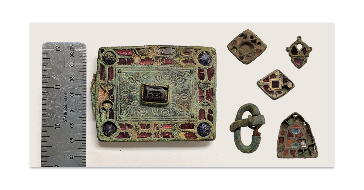 Banner featuring composite image of Visigothic belt-buckle and other objects of personal adornment