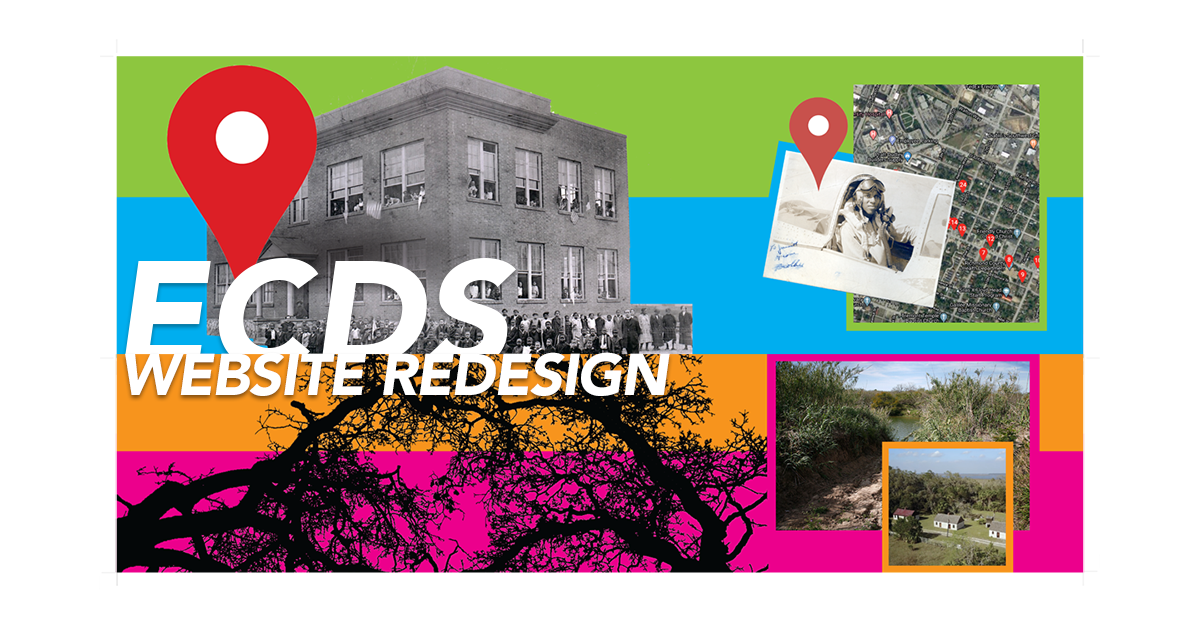 Colorful banners featuring ECDS projects with words ECDS Website Redesign overlaid