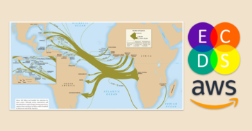 Banner featuring map from Slave Voyages website and logos for ECDS and AWS