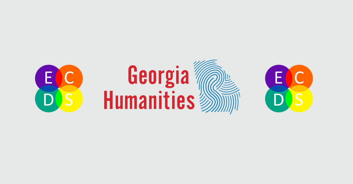 Side by side logos for ECDS and Georgia Humanities. ECDS logo features four concentric circles in bright colors. Georgia Humanities logo features outline of Georgia state with blue whorls mimicking a fingerprint.