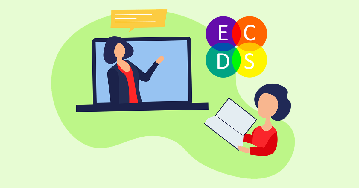 Vector illustration of instructor on laptop screen with speech bubble and student reading a book, representing online or remote teaching.