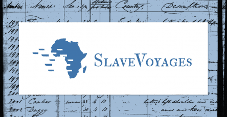 SlaveVoyages logo featuring project name in stylized text next to an image representing the African continent with ships sailing off to the West, leaving behind gaps in the outline of Africa