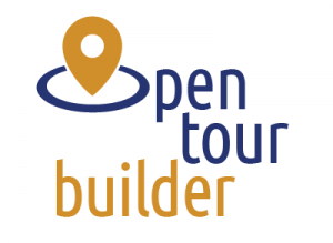 "Logo of OpenTour Builder features words Open and Tour in dark blue lowercase letters, and the word Builder in dark gold. The ""O"" of the word ""open"" is stylized like a location marker on Google Maps enclosed within an oval."