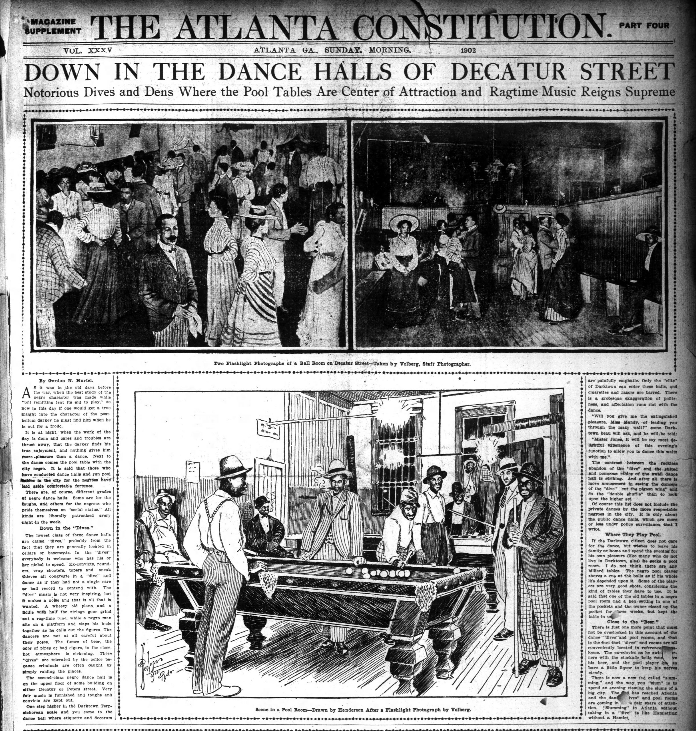 "Black and white newspaper spread featuring three photos and text. Top news headline reads: ""Down in the Dance Halls of Decatur Street: Notorious Dives and Dens Where the Pool Tables Are Center of Attraction and Ragtime Music Reigns Supreme."""