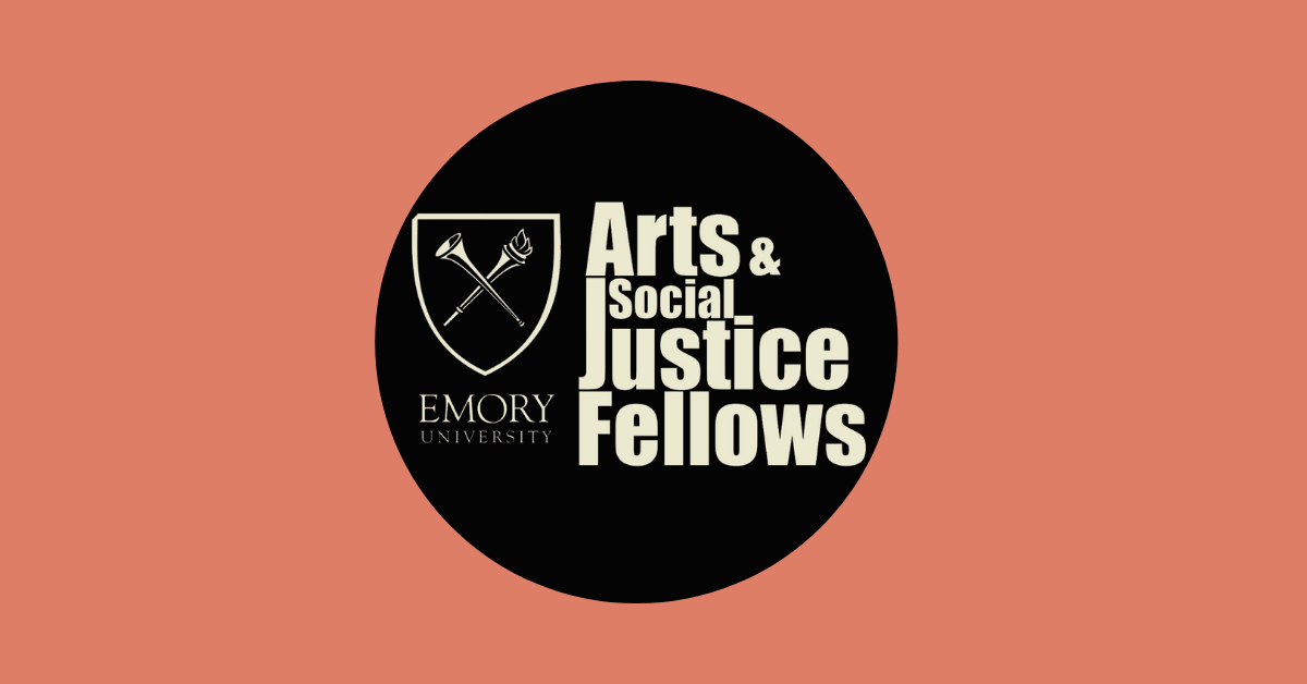 Black circle with Emory Arts & Social Justice Fellows logo in beige in the center. Background is a salmon color.