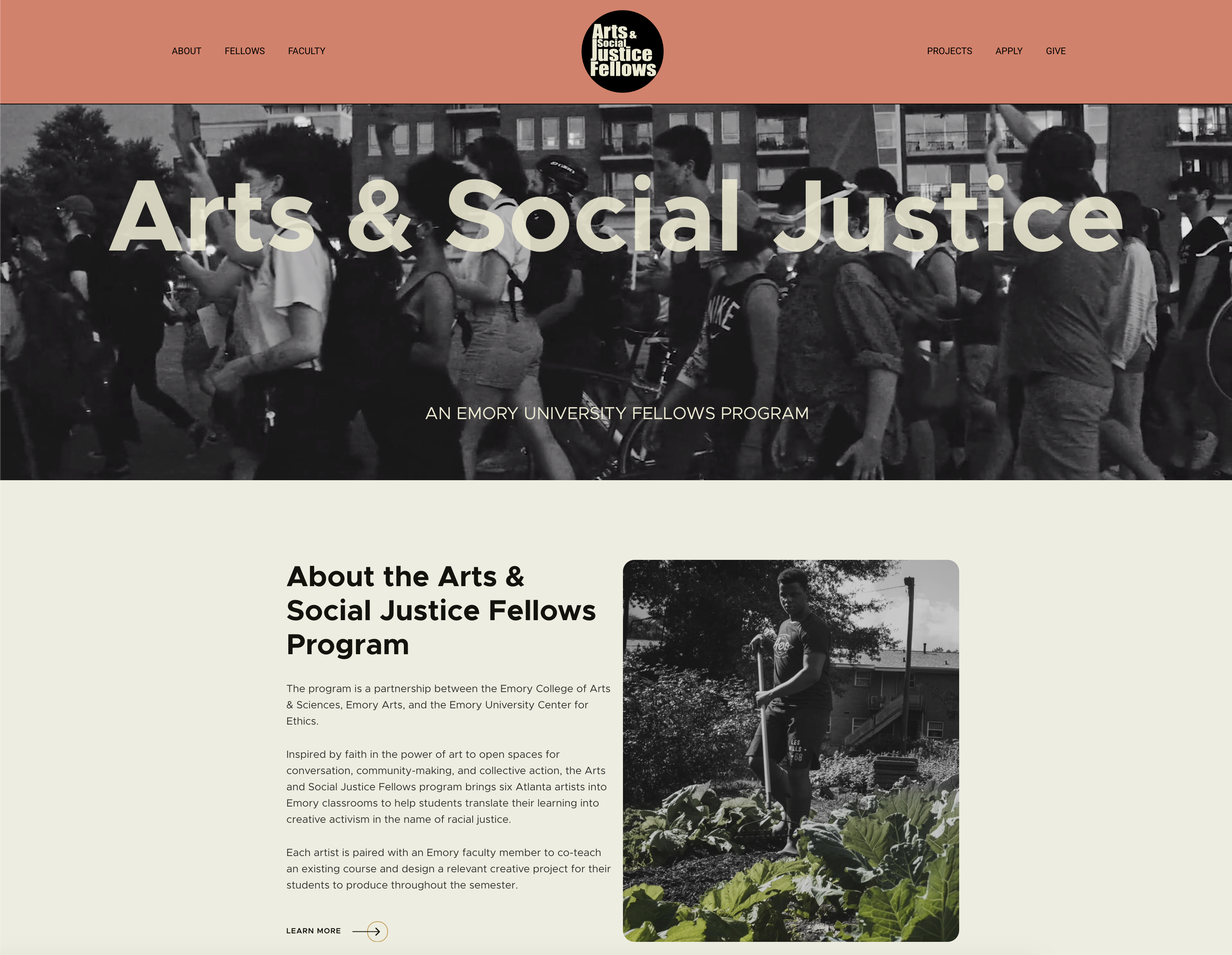 """Website landing page featuring black and white animation header of activists and artists, with text """"Arts & Social Justice: An Emory University Fellows Program"""" laid overtop. Top of website features ASJ logo against salmon colored background. Body section below photo header includes photo and text explaining the program."""