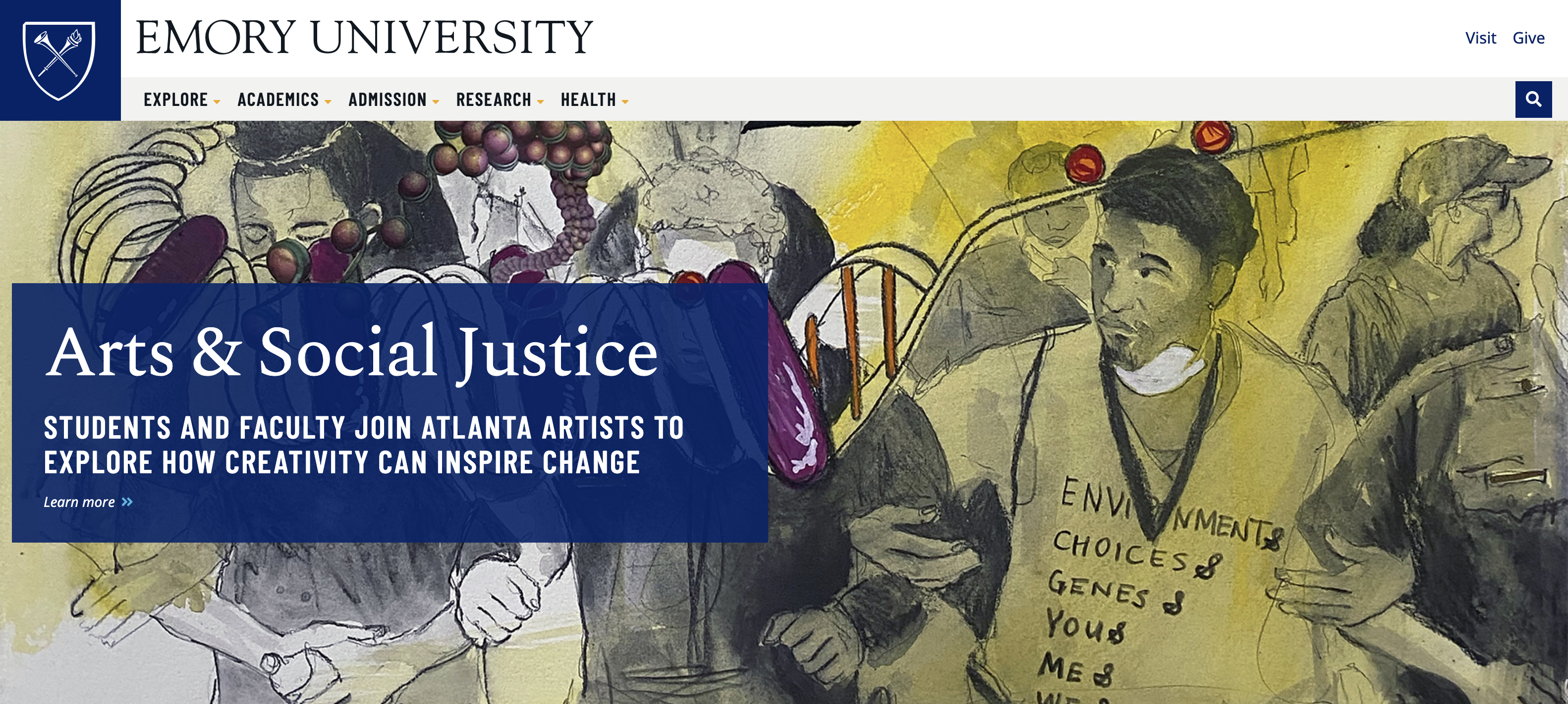 Screenshot of Emory University website homepage, featuring painting by ASJ Fellow Dr. Fahamu Pecou and the article title in white text against a blue rectangular heading